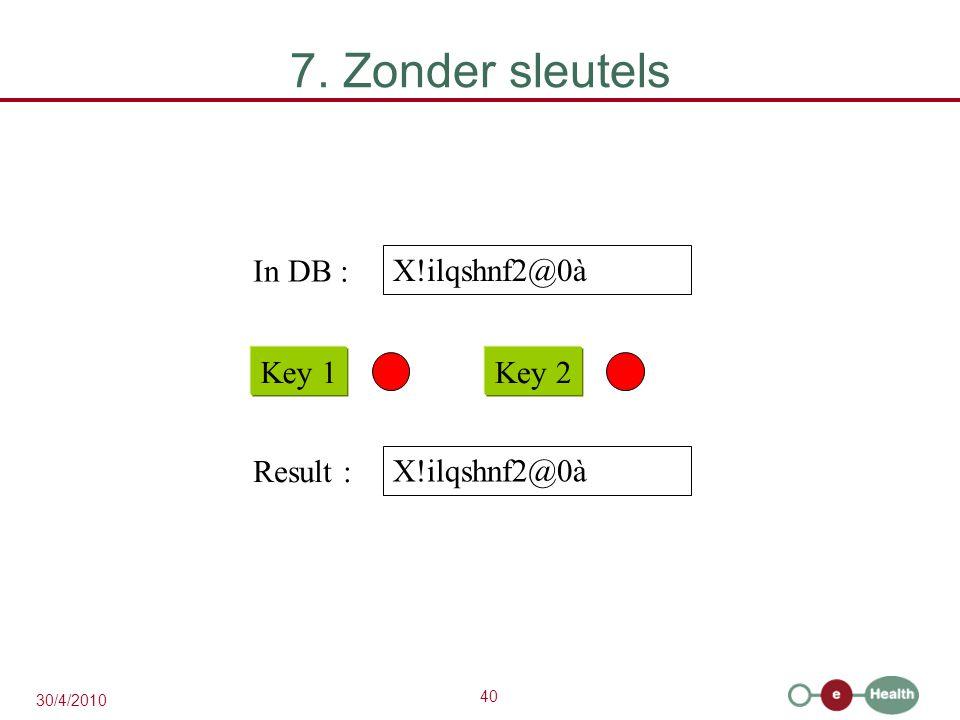 40 30/4/2010 X!ilqshnf2@0à Key 1Key 2 In DB : X!ilqshnf2@0à Result : 7. Zonder sleutels