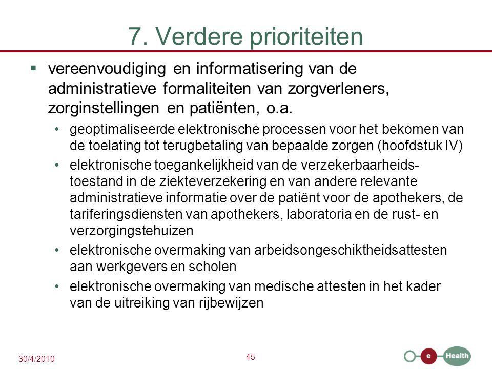 45 30/4/2010 7. Verdere prioriteiten  vereenvoudiging en informatisering van de administratieve formaliteiten van zorgverleners, zorginstellingen en