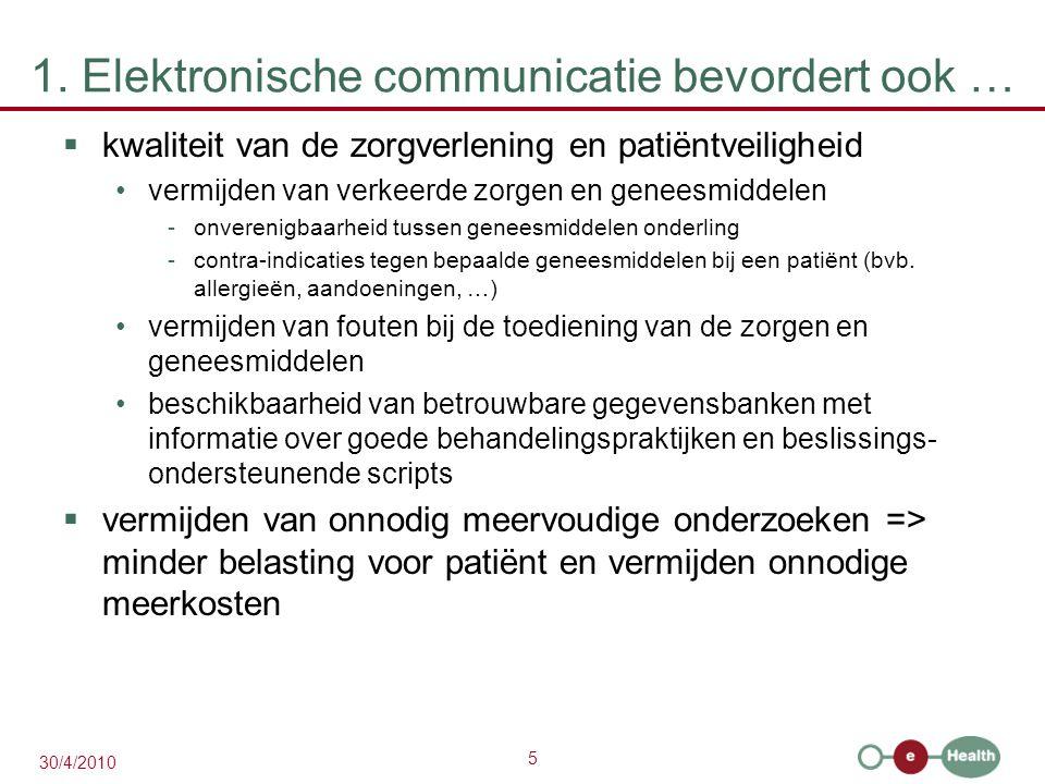 5 30/4/2010 1. Elektronische communicatie bevordert ook …  kwaliteit van de zorgverlening en patiëntveiligheid vermijden van verkeerde zorgen en gene