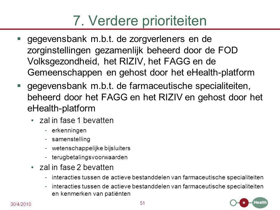 51 30/4/2010 7. Verdere prioriteiten  gegevensbank m.b.t. de zorgverleners en de zorginstellingen gezamenlijk beheerd door de FOD Volksgezondheid, he
