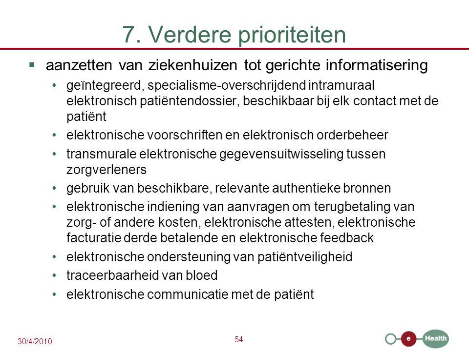 54 30/4/2010 7. Verdere prioriteiten  aanzetten van ziekenhuizen tot gerichte informatisering geïntegreerd, specialisme-overschrijdend intramuraal el