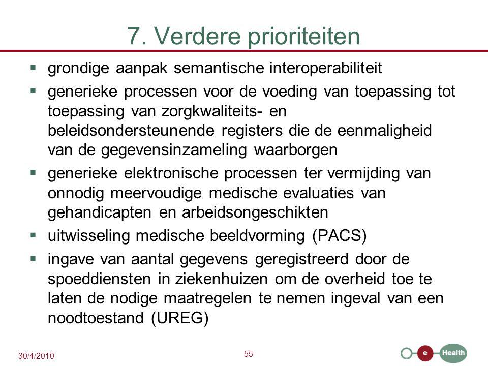55 30/4/2010 7. Verdere prioriteiten  grondige aanpak semantische interoperabiliteit  generieke processen voor de voeding van toepassing tot toepass