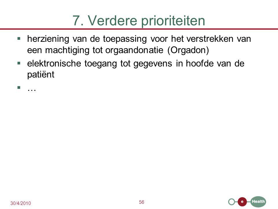 56 30/4/2010 7. Verdere prioriteiten  herziening van de toepassing voor het verstrekken van een machtiging tot orgaandonatie (Orgadon)  elektronisch