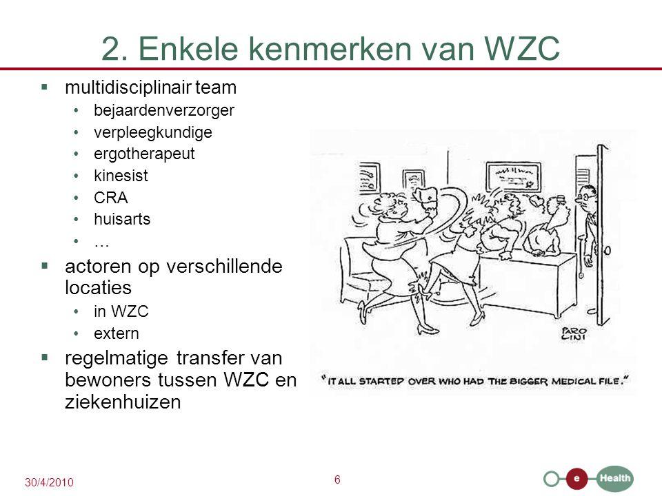 6 30/4/2010 2. Enkele kenmerken van WZC  multidisciplinair team bejaardenverzorger verpleegkundige ergotherapeut kinesist CRA huisarts …  actoren op