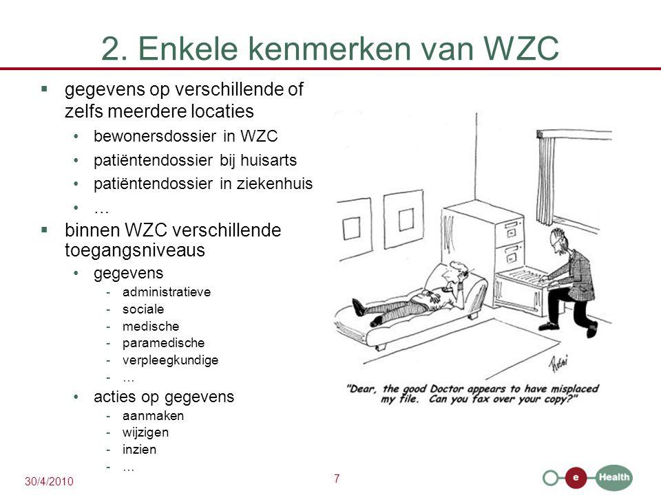7 30/4/2010 2. Enkele kenmerken van WZC  gegevens op verschillende of zelfs meerdere locaties bewonersdossier in WZC patiëntendossier bij huisarts pa