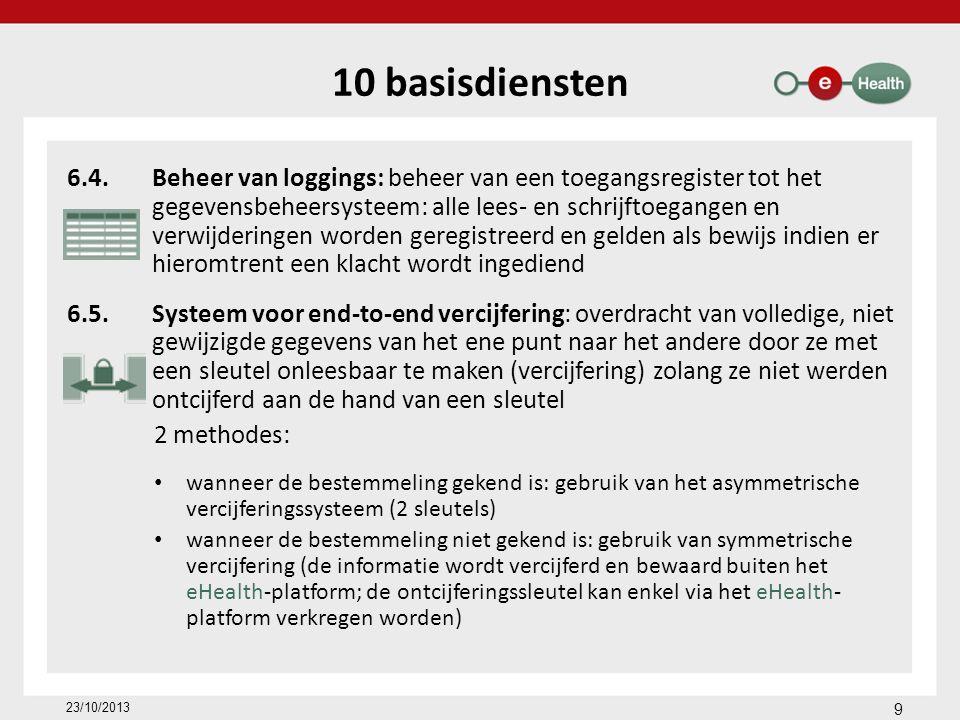 Roadmap 2013-2018 (www.rtreh.be) Opname van e-gezondheid in de opleiding van zorgverstrekkers Invoering MyCarenet-diensten (elektronische facturatie derde betaler, elektronische raadpleging verzekerbaarheid, elektronische uitwisseling tussen ziekenhuis en ziekenfonds bij hospitalisatie,...) Inventaris en consolidatie van registers Actieplan voor verdere administratieve vereenvoudiging Monitoring en uitvoering van het actieplan 23/10/2013 40