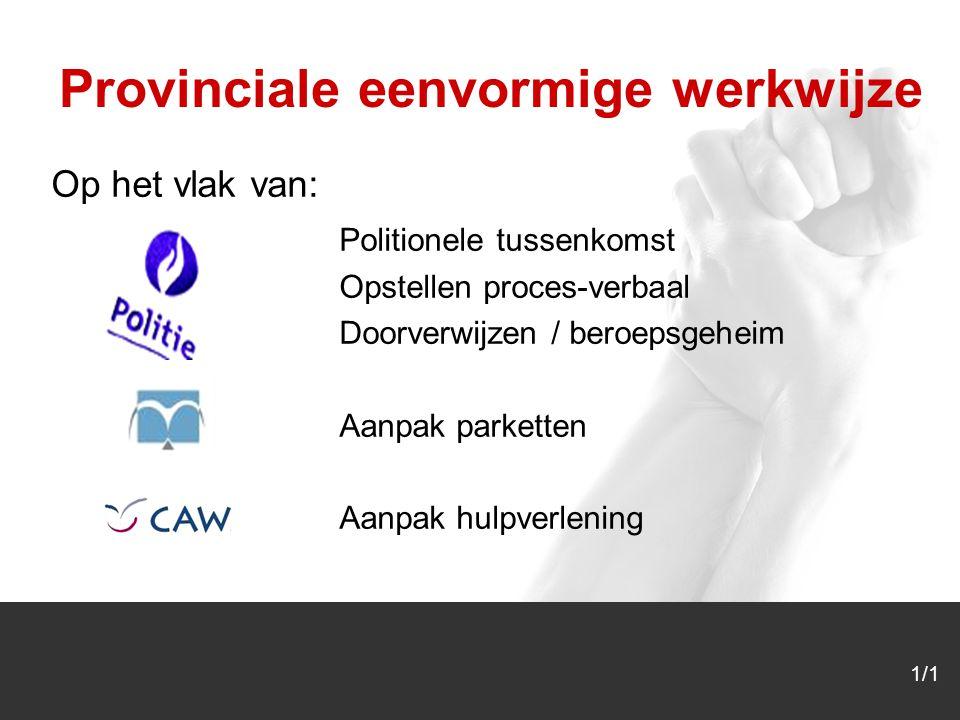 1/1 Op het vlak van: Politionele tussenkomst Opstellen proces-verbaal Doorverwijzen / beroepsgeheim Aanpak parketten Aanpak hulpverlening Provinciale eenvormige werkwijze