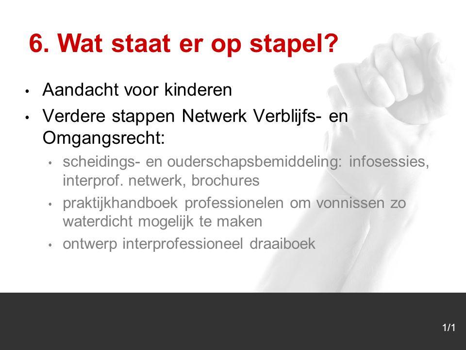 1/1 Aandacht voor kinderen Verdere stappen Netwerk Verblijfs- en Omgangsrecht: scheidings- en ouderschapsbemiddeling: infosessies, interprof.