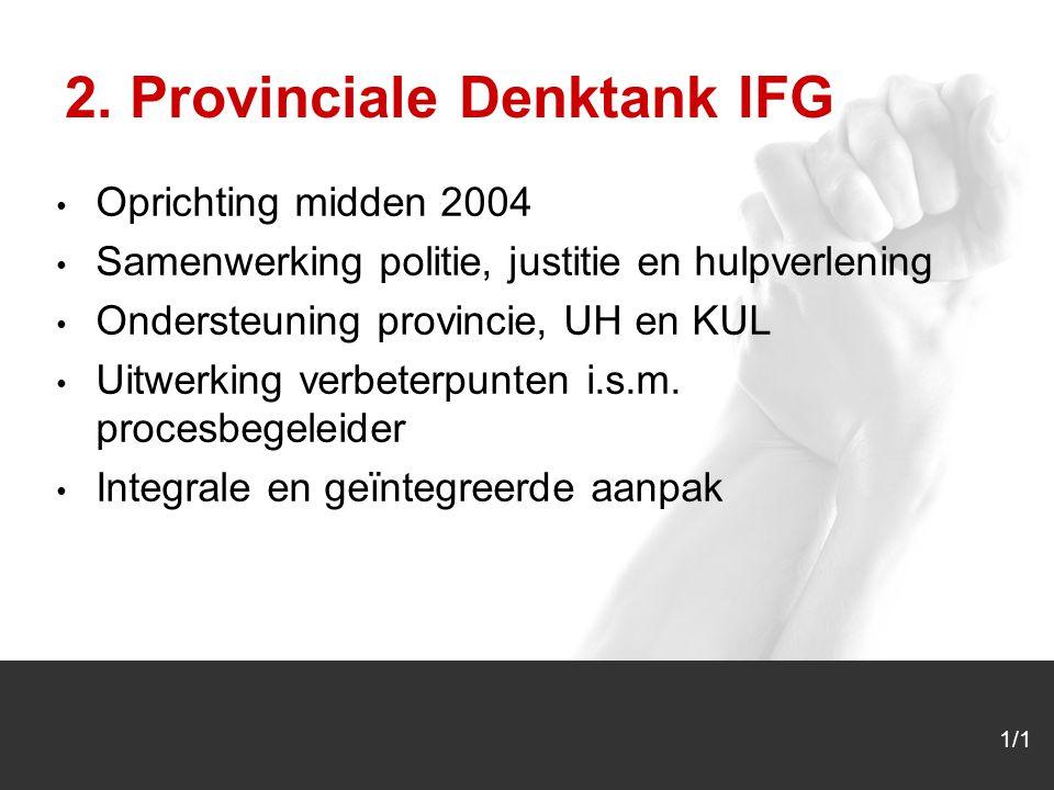 Oprichting midden 2004 Samenwerking politie, justitie en hulpverlening Ondersteuning provincie, UH en KUL Uitwerking verbeterpunten i.s.m.