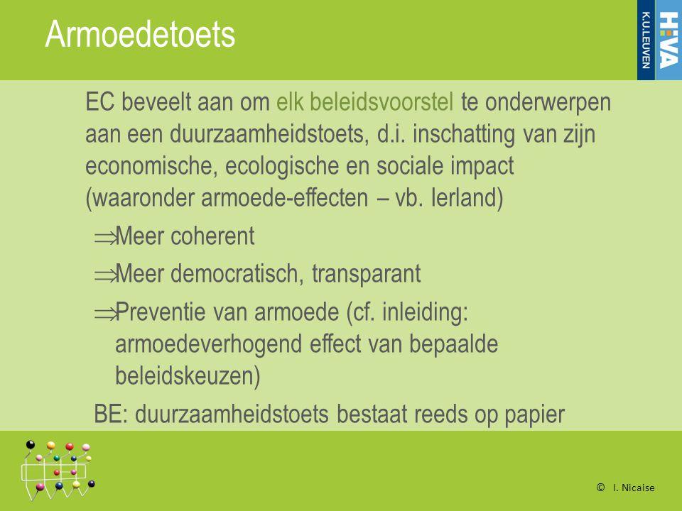 Armoedetoets EC beveelt aan om elk beleidsvoorstel te onderwerpen aan een duurzaamheidstoets, d.i.