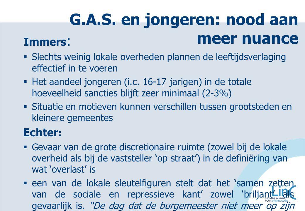 G.A.S. en jongeren: nood aan meer nuance Immers :  Slechts weinig lokale overheden plannen de leeftijdsverlaging effectief in te voeren  Het aandeel