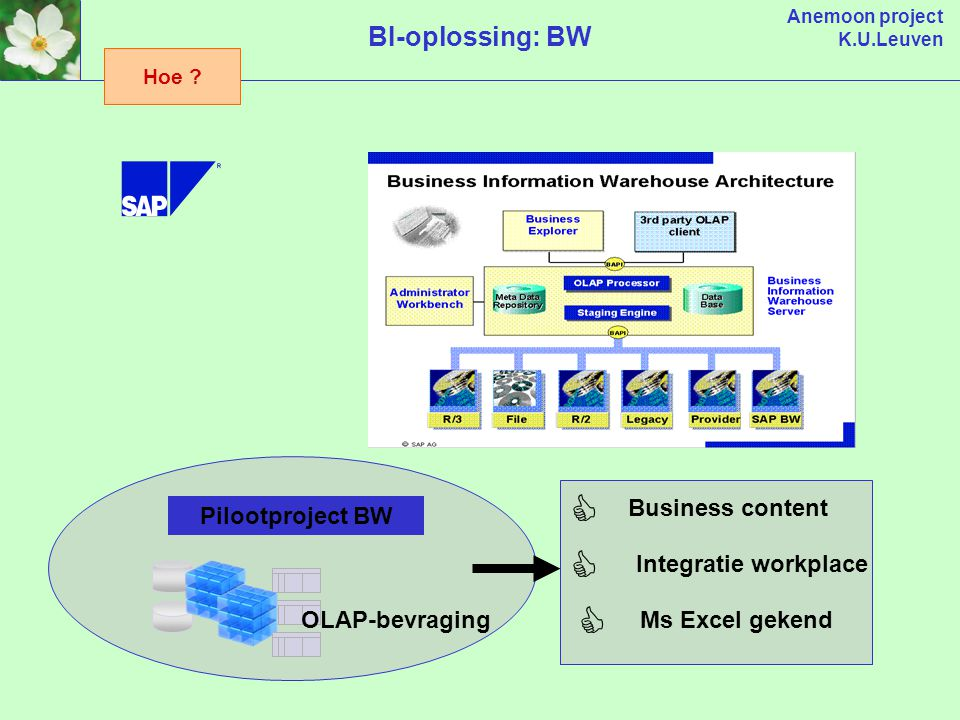Anemoon project K.U.Leuven BI-oplossing: BW Business content    Integratie workplace Ms Excel gekend Pilootproject BW OLAP-bevraging Hoe ?