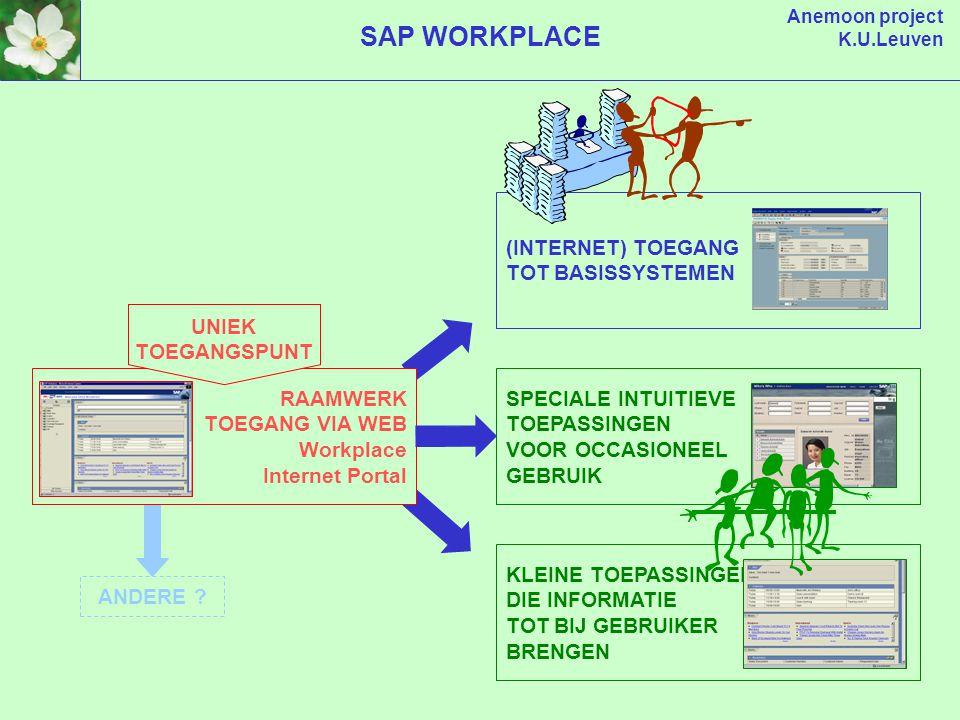 Anemoon project K.U.Leuven SAP WORKPLACE (INTERNET) TOEGANG TOT BASISSYSTEMEN SPECIALE INTUITIEVE TOEPASSINGEN VOOR OCCASIONEEL GEBRUIK ANDERE .