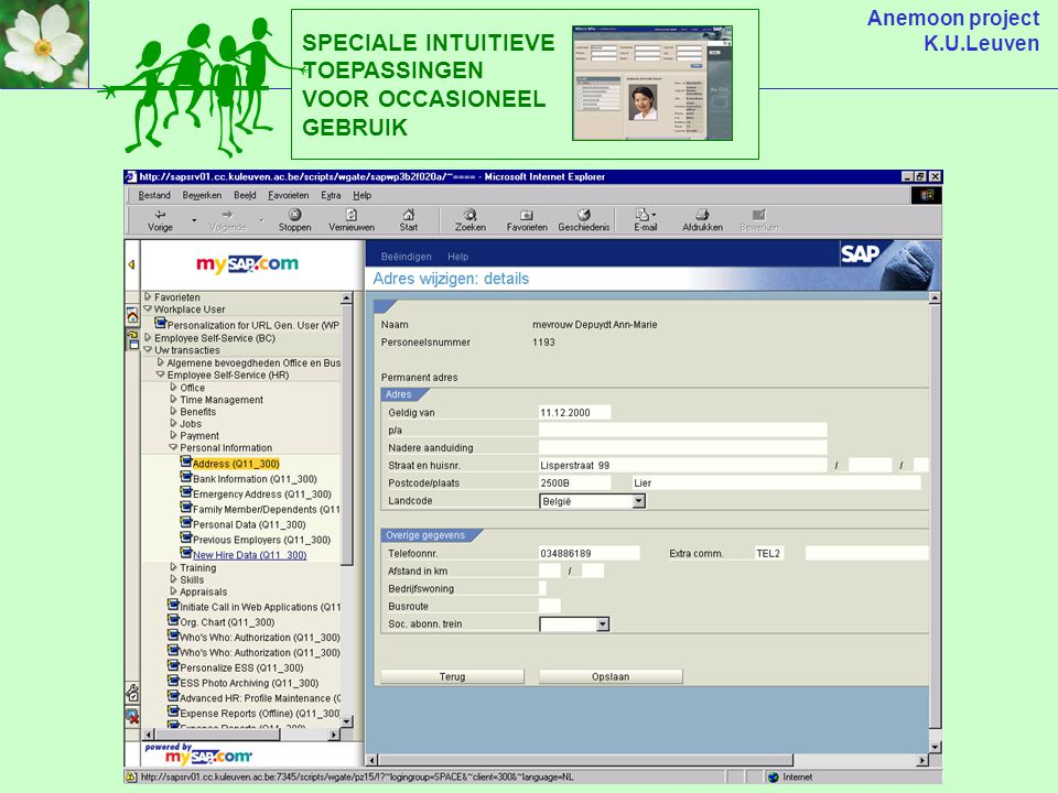 Anemoon project K.U.Leuven SPECIALE INTUITIEVE TOEPASSINGEN VOOR OCCASIONEEL GEBRUIK
