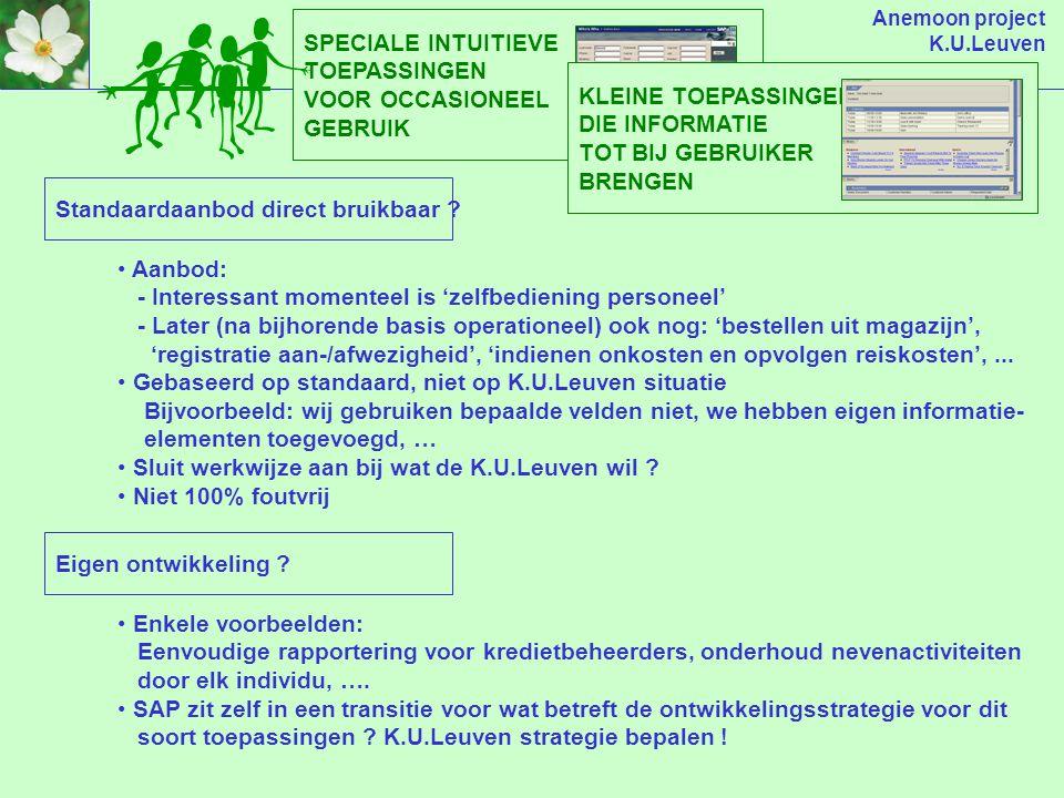 Anemoon project K.U.Leuven SPECIALE INTUITIEVE TOEPASSINGEN VOOR OCCASIONEEL GEBRUIK Standaardaanbod direct bruikbaar .