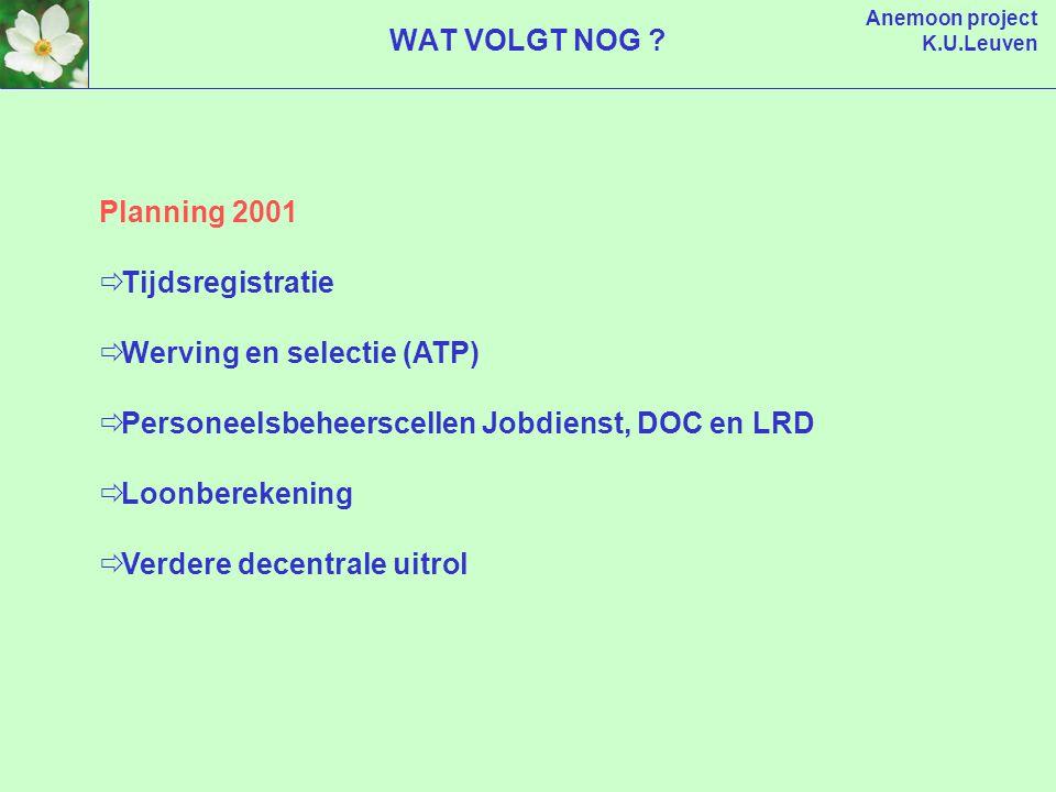 Anemoon project K.U.Leuven Planning 2001  Tijdsregistratie  Werving en selectie (ATP)  Personeelsbeheerscellen Jobdienst, DOC en LRD  Loonberekening  Verdere decentrale uitrol WAT VOLGT NOG