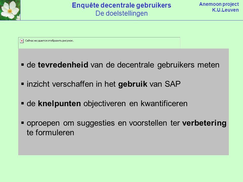 Anemoon project K.U.Leuven  de tevredenheid van de decentrale gebruikers meten  inzicht verschaffen in het gebruik van SAP  de knelpunten objectiveren en kwantificeren  oproepen om suggesties en voorstellen ter verbetering te formuleren Enquête decentrale gebruikers De doelstellingen