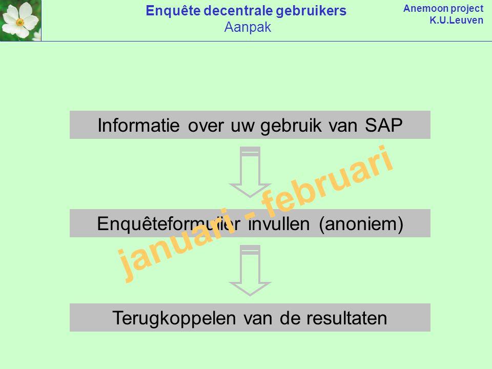 Anemoon project K.U.Leuven Informatie over uw gebruik van SAP Enquêteformulier invullen (anoniem) Terugkoppelen van de resultaten januari - februari Enquête decentrale gebruikers Aanpak