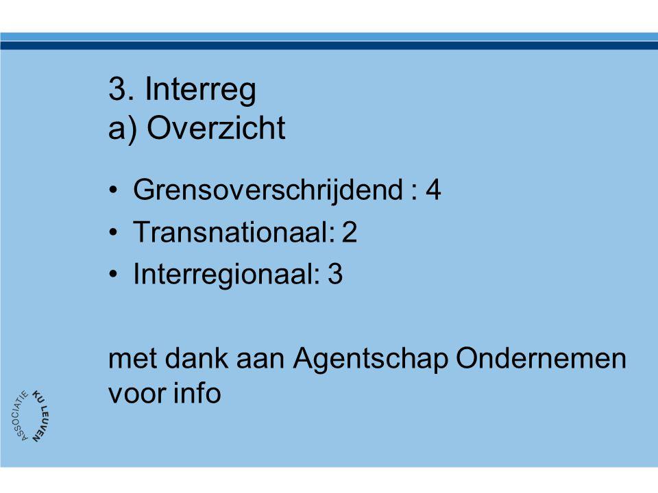 3. Interreg a) Overzicht Grensoverschrijdend : 4 Transnationaal: 2 Interregionaal: 3 met dank aan Agentschap Ondernemen voor info