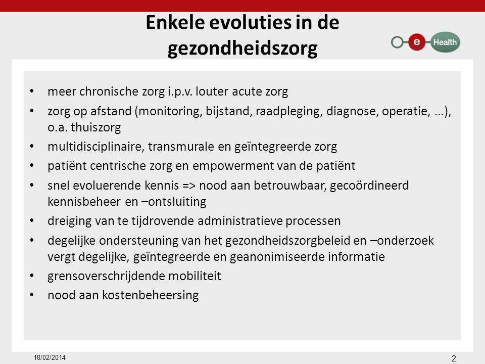 Enkele evoluties in de gezondheidszorg meer chronische zorg i.p.v. louter acute zorg zorg op afstand (monitoring, bijstand, raadpleging, diagnose, ope