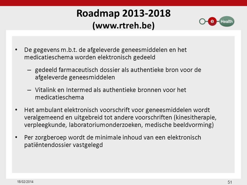 Roadmap 2013-2018 (www.rtreh.be) De gegevens m.b.t. de afgeleverde geneesmiddelen en het medicatieschema worden elektronisch gedeeld – gedeeld farmace
