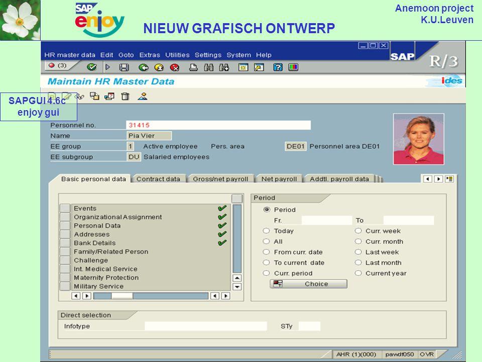 Anemoon project K.U.Leuven HUIDIG GRAFISCH ONTWERP SAPGUI 4.5b huidige gui