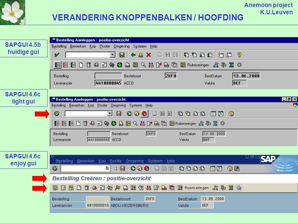 Anemoon project K.U.Leuven LIGHT OF ENJOY: KEUZE AAN GEBRUIKER ! SAPGUI 4.6c LIGHT VERSIE SAPGUI 4.6c ENJOY VERSIE
