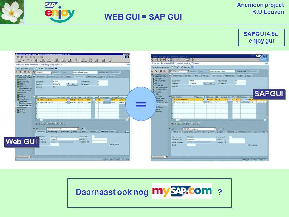 Anemoon project K.U.Leuven INTERFACE STRATEGIE Windows 32 Bit Java Application R/3 4.6 native Windows 32 Bit Browser based Windows 16 Bit Unix / Motif