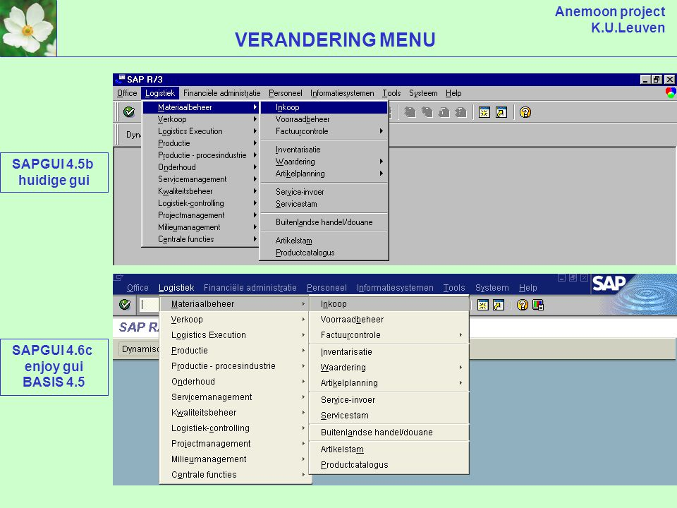 Anemoon project K.U.Leuven VERANDERINGEN NA BASIS NAAR 4.6 (server) SAP R/3 TOEPASSINGEN DATABASE (client) SAP R/3 INTERFACE SAPGUI (installatie op PC