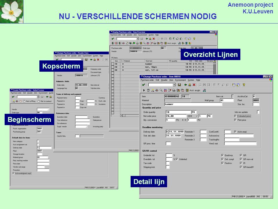 Anemoon project K.U.Leuven VERANDERINGEN NA BASIS NAAR 4.6 (server) SAP R/3 TOEPASSINGEN DATABASE (client) SAP R/3 INTERFACE SAPGUI (installatie op PC) (WINGUI / JAVAGUI) WEBGUI (via browser) 4.5b HUIDIGE RELEASE 4.6c NIEUWE RELEASE 6 NOV 2000 SAPGUI 4.5b SAPGUI 4.6c LIGHT VERSIE SAPGUI 4.6c ENJOY VERSIE +/- = Internet explorer Netscape versie 6 .