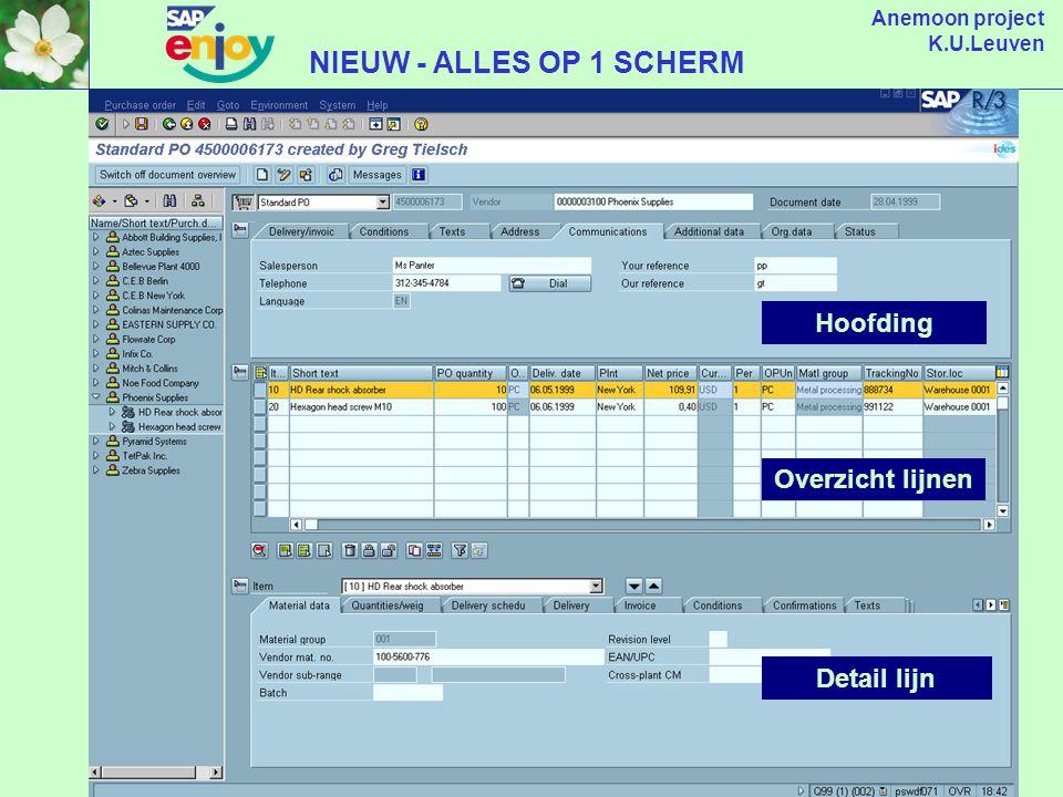 Anemoon project K.U.Leuven NU - VERSCHILLENDE SCHERMEN NODIG Beginscherm Kopscherm Overzicht Lijnen Detail lijn