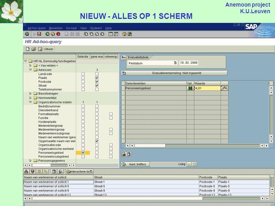 Anemoon project K.U.Leuven 1 3 2 Van 3 schermen naar... NU - VOORBEELD AD HOC QUERY