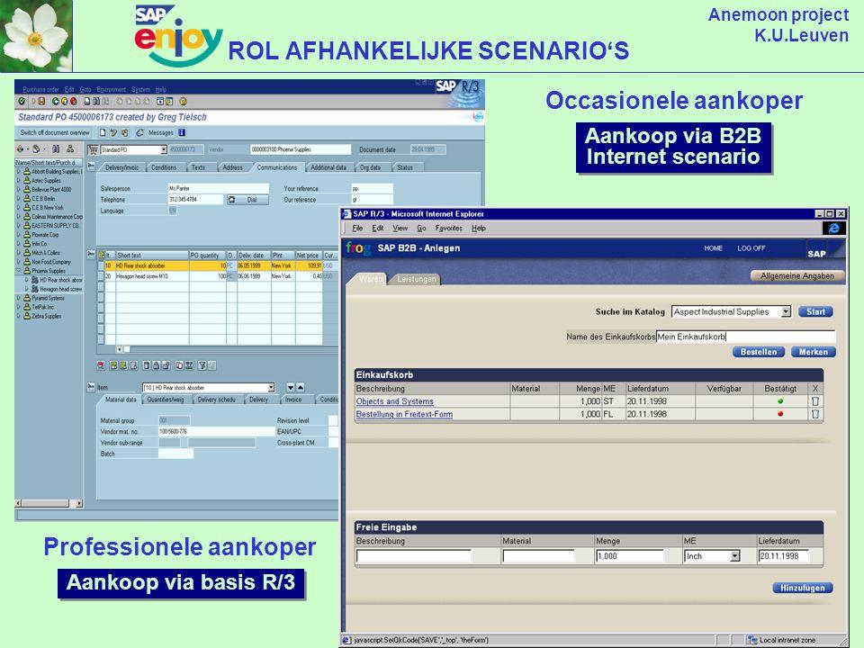 Anemoon project K.U.Leuven R/3 Business Scenarios Employee Self Service SAP Office Externe links WORKPLACE Kennis beheer (bw/kw) Rol: Aankoper Rol: Boekhouder