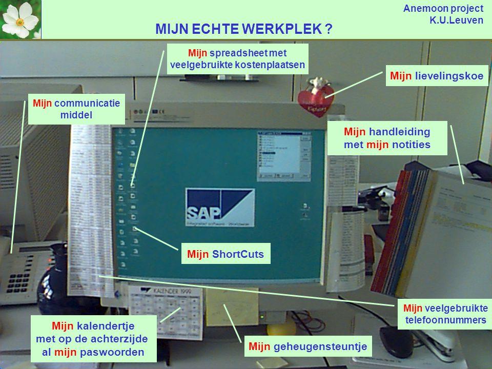 Anemoon project K.U.Leuven junijuliaugseptoktnov PLANNING ? Onderhandelingen contract omvormen tot mysap.com contract dec2001 Onderzoek mogelijkheden