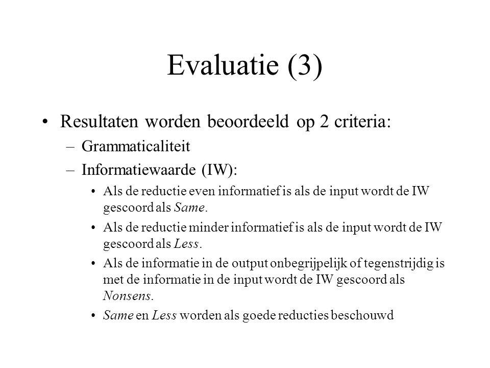Evaluatie (3) Resultaten worden beoordeeld op 2 criteria: –Grammaticaliteit –Informatiewaarde (IW): Als de reductie even informatief is als de input w