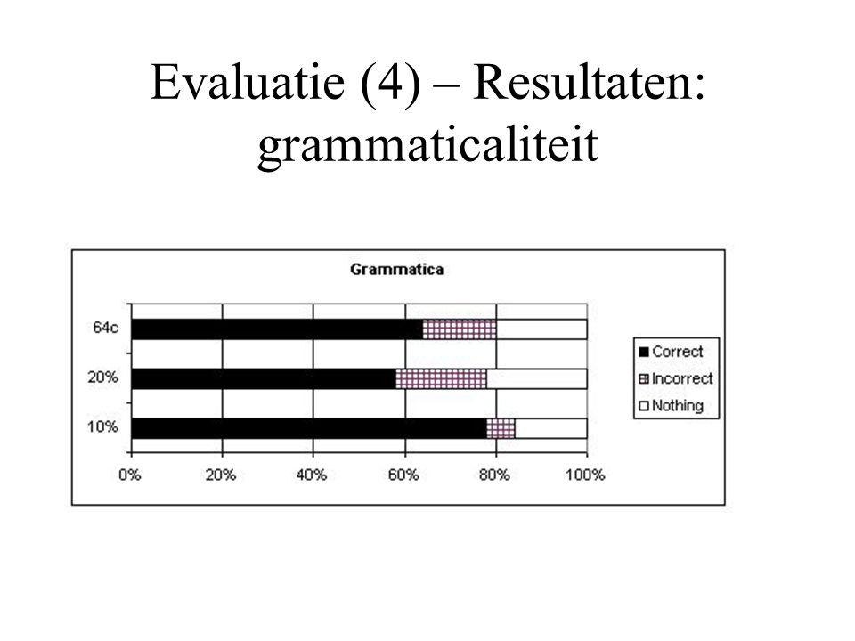 Evaluatie (4) – Resultaten: grammaticaliteit