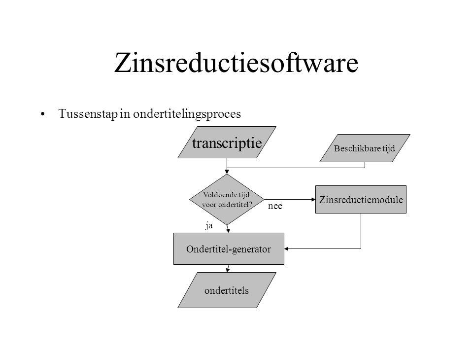 Beschrijving van de software Voorbereidingsfase Conversie naar pretag TnT CGN (r6) Afkorter Vb: Europese Unie => EU Chunker Chunker Grammars Bijzin-detector input