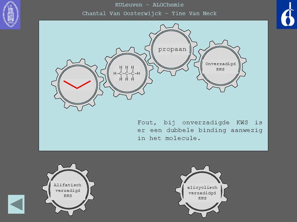 KULeuven – ALOChemie Chantal Van Oosterwijck – Tine Van Neck Fout, bij onverzadigde KWS is er een dubbele binding aanwezig in het molecule. propaan Al