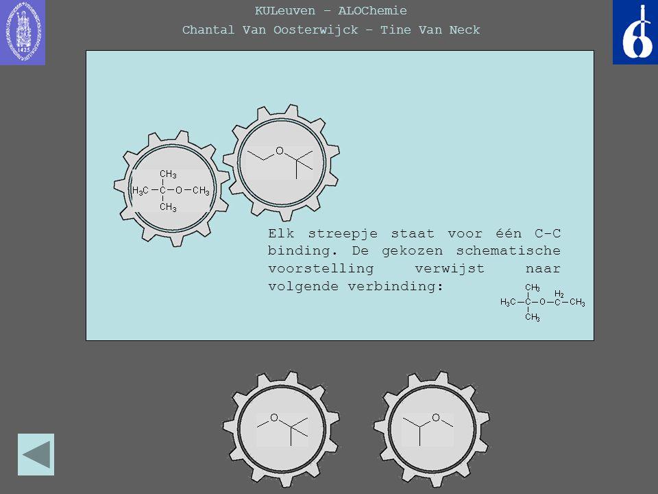 KULeuven – ALOChemie Chantal Van Oosterwijck – Tine Van Neck Elk streepje staat voor één C-C binding. De gekozen schematische voorstelling verwijst na
