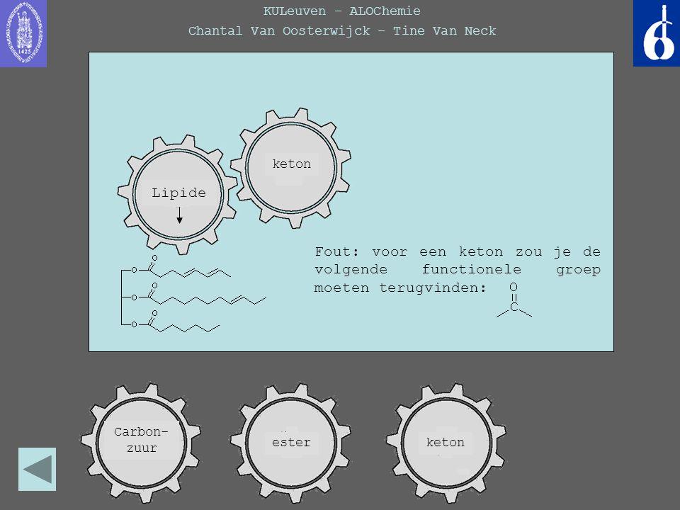 KULeuven – ALOChemie Chantal Van Oosterwijck – Tine Van Neck keton Fout: voor een keton zou je de volgende functionele groep moeten terugvinden: Lipid