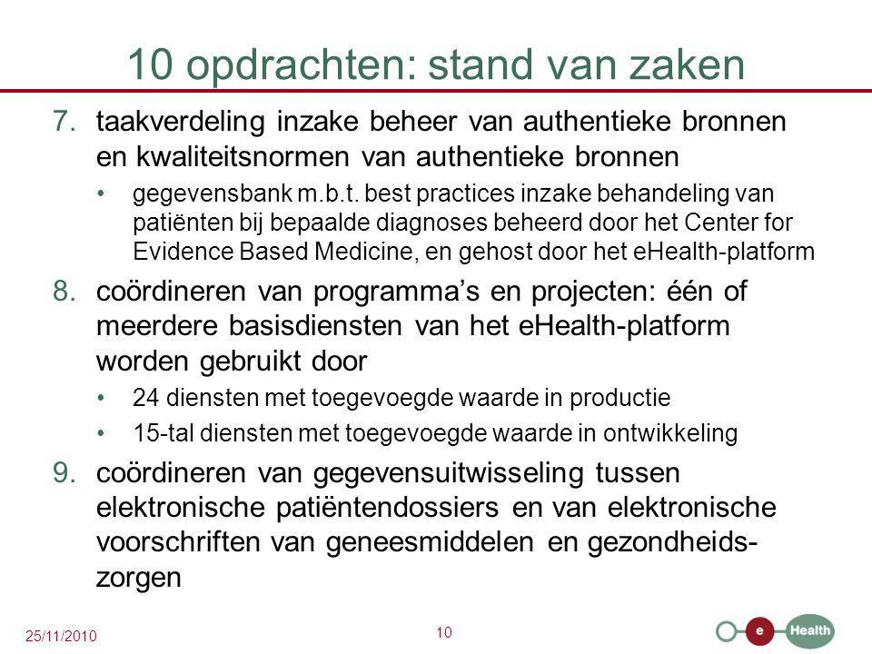 10 25/11/2010 10 opdrachten: stand van zaken 7.taakverdeling inzake beheer van authentieke bronnen en kwaliteitsnormen van authentieke bronnen gegevensbank m.b.t.