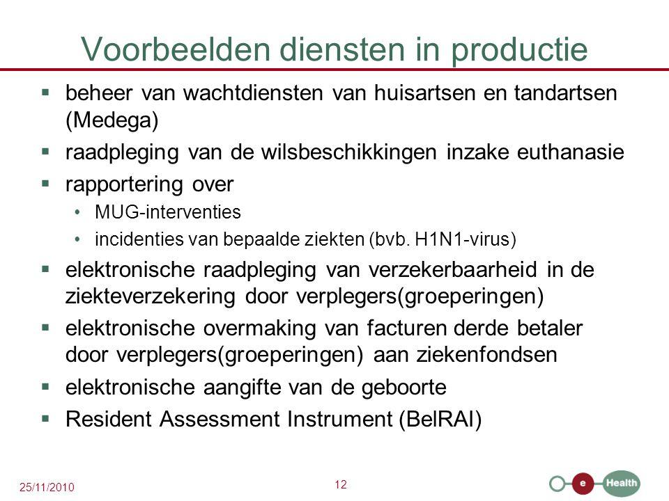 12 25/11/2010 Voorbeelden diensten in productie  beheer van wachtdiensten van huisartsen en tandartsen (Medega)  raadpleging van de wilsbeschikkingen inzake euthanasie  rapportering over MUG-interventies incidenties van bepaalde ziekten (bvb.