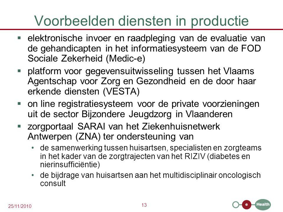 13 25/11/2010 Voorbeelden diensten in productie  elektronische invoer en raadpleging van de evaluatie van de gehandicapten in het informatiesysteem van de FOD Sociale Zekerheid (Medic-e)  platform voor gegevensuitwisseling tussen het Vlaams Agentschap voor Zorg en Gezondheid en de door haar erkende diensten (VESTA)  on line registratiesysteem voor de private voorzieningen uit de sector Bijzondere Jeugdzorg in Vlaanderen  zorgportaal SARAI van het Ziekenhuisnetwerk Antwerpen (ZNA) ter ondersteuning van de samenwerking tussen huisartsen, specialisten en zorgteams in het kader van de zorgtrajecten van het RIZIV (diabetes en nierinsufficiëntie) de bijdrage van huisartsen aan het multidisciplinair oncologisch consult