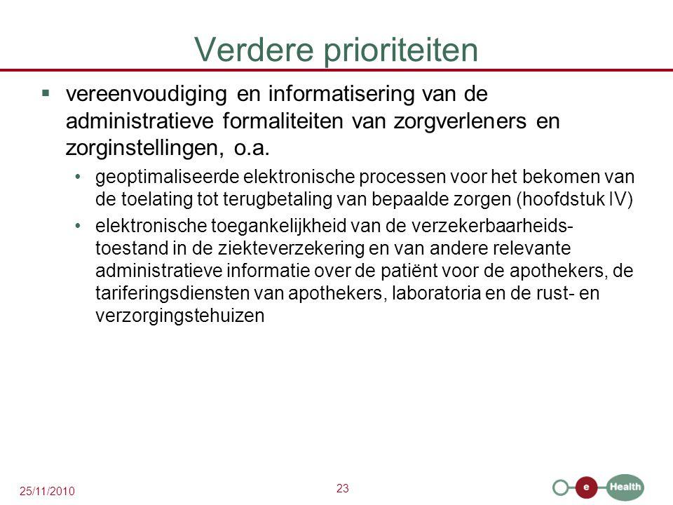 23 25/11/2010 Verdere prioriteiten  vereenvoudiging en informatisering van de administratieve formaliteiten van zorgverleners en zorginstellingen, o.a.