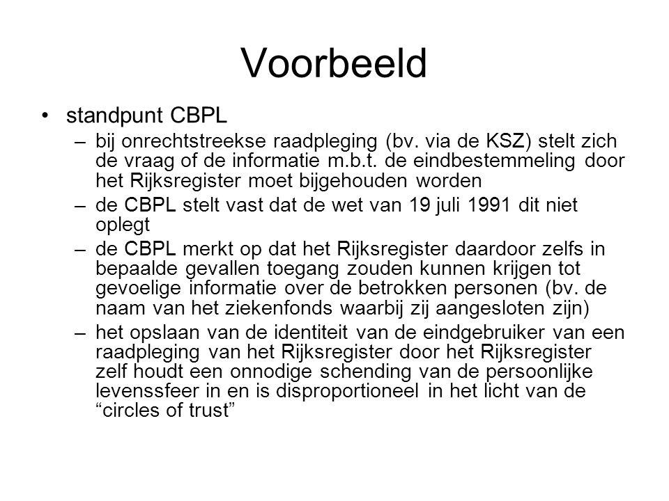Voorbeeld standpunt CBPL –bij onrechtstreekse raadpleging (bv. via de KSZ) stelt zich de vraag of de informatie m.b.t. de eindbestemmeling door het Ri