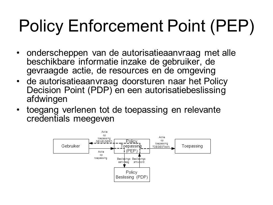 Policy Enforcement Point (PEP) onderscheppen van de autorisatieaanvraag met alle beschikbare informatie inzake de gebruiker, de gevraagde actie, de resources en de omgeving de autorisatieaanvraag doorsturen naar het Policy Decision Point (PDP) en een autorisatiebeslissing afdwingen toegang verlenen tot de toepassing en relevante credentials meegeven Gebruiker Policy Toepassing (PEP) Toepassing Policy Beslissing(PDP) Actie op toepassing Beslissings aanvraag Beslissings antwoord Actie op toepassing TOEGESTAAN Actie op toepassing GEWEIGERD