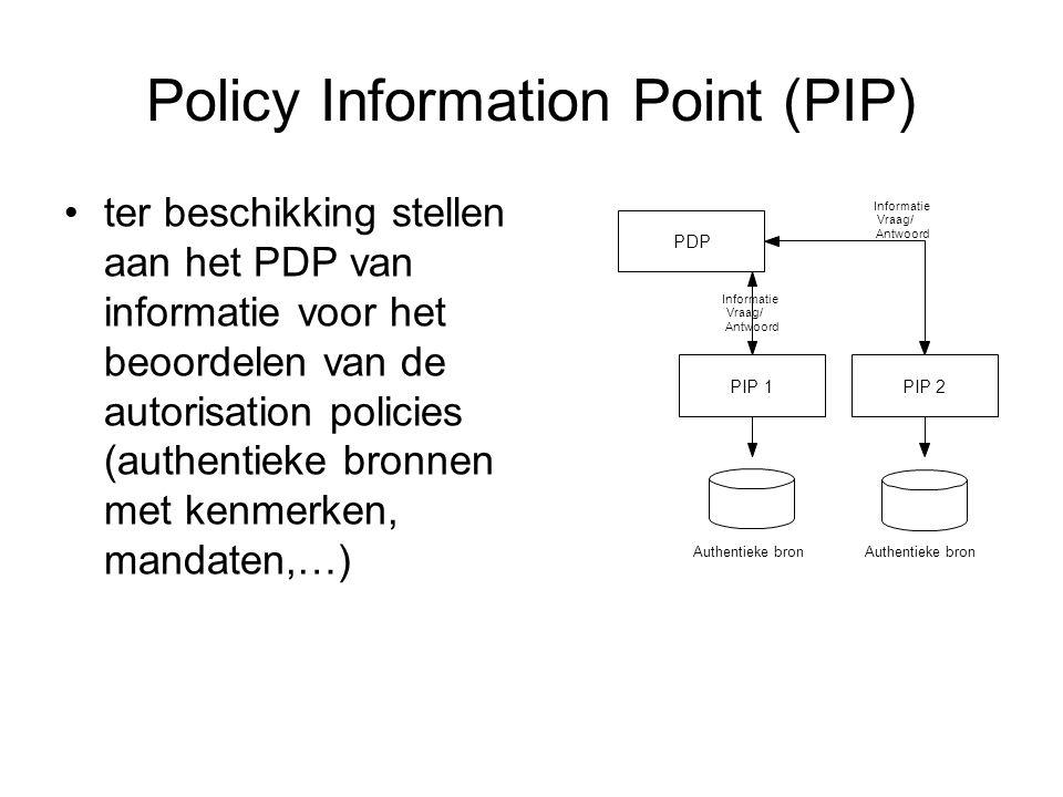 Policy Information Point (PIP) ter beschikking stellen aan het PDP van informatie voor het beoordelen van de autorisation policies (authentieke bronnen met kenmerken, mandaten,…) PDP PIP1 Informatie Vraag/ Antwoord Authentieke bron PIP2 Authentieke bron Informatie Vraag/ Antwoord