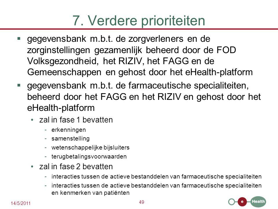49 14/5/2011 7. Verdere prioriteiten  gegevensbank m.b.t.