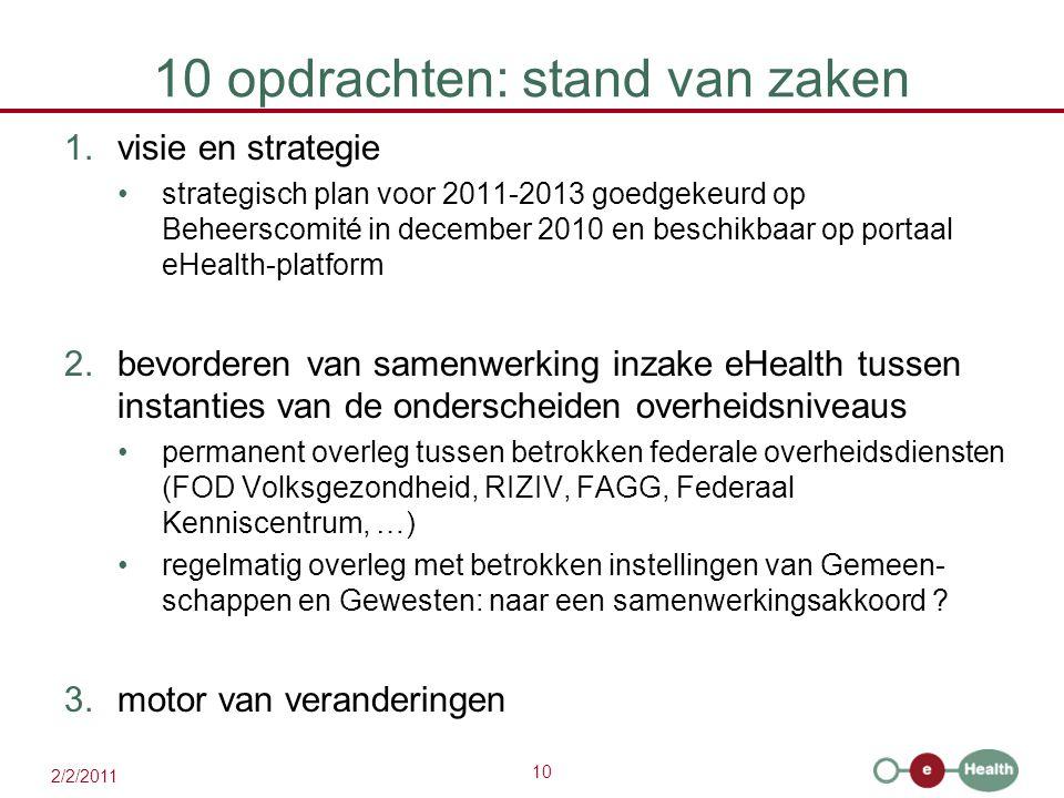 10 2/2/2011 10 opdrachten: stand van zaken 1.visie en strategie strategisch plan voor 2011-2013 goedgekeurd op Beheerscomité in december 2010 en besch