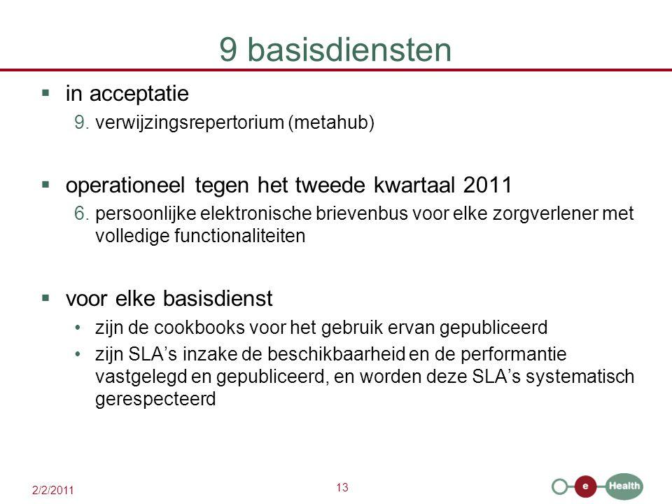 13 2/2/2011 9 basisdiensten  in acceptatie 9.verwijzingsrepertorium (metahub)  operationeel tegen het tweede kwartaal 2011 6.persoonlijke elektronis